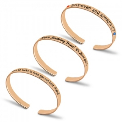 Special Silver Personalized Engraved Birthstones Bangle