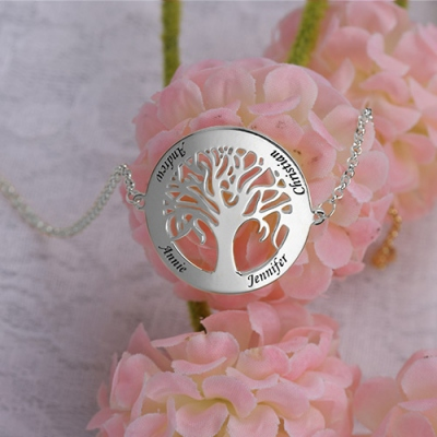 Engraved Sterling Silver Classic 4 Names Circle Family Tree Bracelet