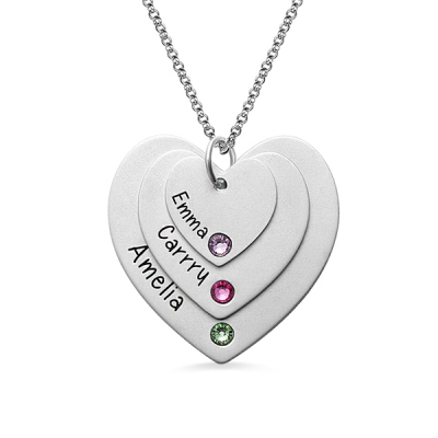 Sterling Silver Chic Triple Heart Name With Birthstones Necklace