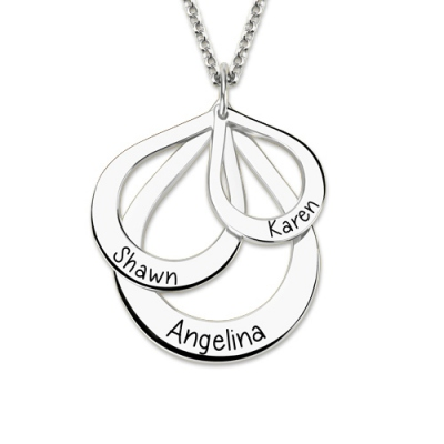 Modish Sterling Silver Engraved Drop Shaped 3 Names Necklace