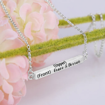 Amazing Sterling Silver Custom 4-Sided Engraved Bar Necklace