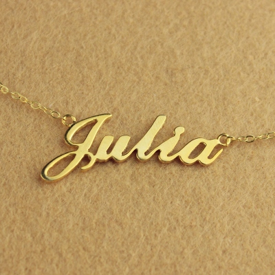 Solid Gold Cute Julia Style Name Necklace