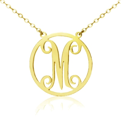 Solid Gold Modish Single Initial Circle Monogram Necklace