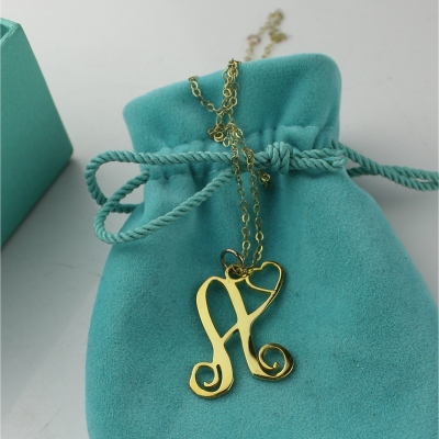 Special Personalized Solid Gold One Initial With Heart Monogram Necklace