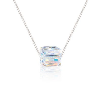 Unexampled Aurora Borealis Cube Necklace with Swarovski Crystal