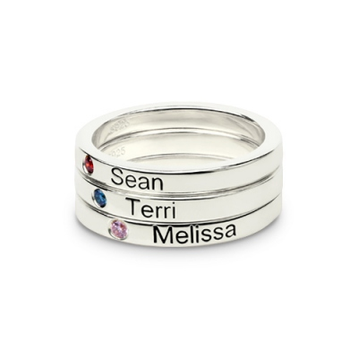 Fabulous Mother's Stackable Birthstone Name Ring UK Size