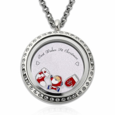 Stainless Steel Enigmatical Circle Engraved Christmas Locket