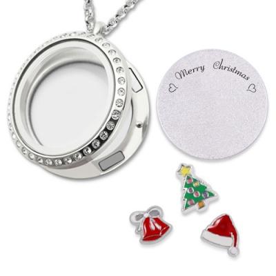Stainless Steel Shimmering Custom Circle Christmas Floating Locket