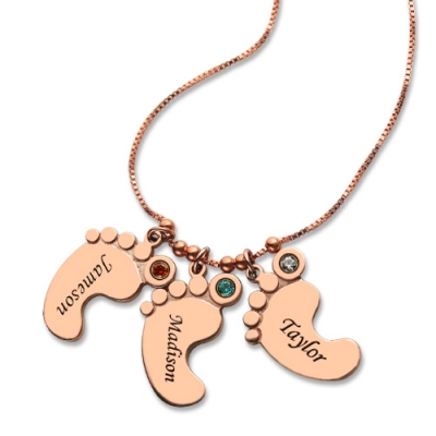 Rose Gold Taintless Mother's Pendant: Baby Feet 3 Names Necklace