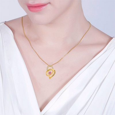 Gold Plated Aesthetic I Love You To The Moon and Back Heart Necklace