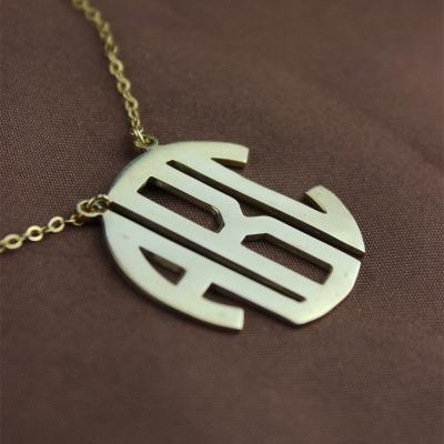 Solid Gold Charismatic 10K Initial Block Monogram Pendant Necklace