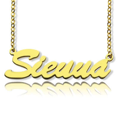 Solid Gold Impressive Sienna Style Name Necklace