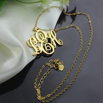 Solid Gold Magnificent Personalized Initial Vine Font Monogram Necklace