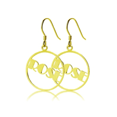 Solid Gold Unmatched Broadway Font Circle Name Earrings