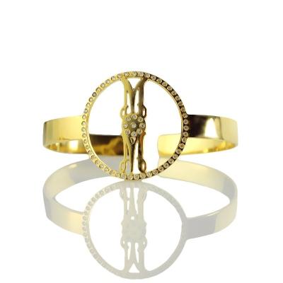 Gold Plated Silver Taintless Birthstone Monogram Circle Bracelet