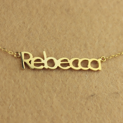 Solid Gold Gentler 10K/14k/18K Rebecca Style Name Necklace