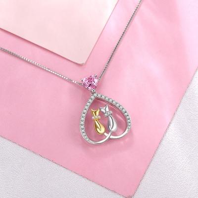 Custom Heart Birthstone Cute Cats Necklace