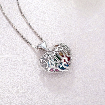 Sterling Silver Personalized Classic Birthstone Heart Cage Necklace
