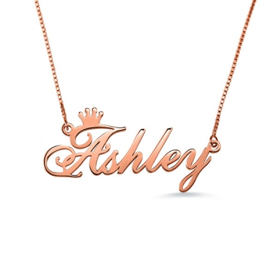 Fashionable Personalized Rose Gold Name Crown Necklace