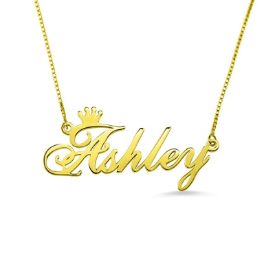 Gold Plated Personalized Modish Name Crown Necklace