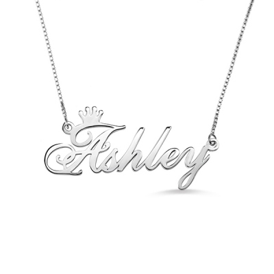 Personalized Sterling Silver Refined Name Crown Necklace