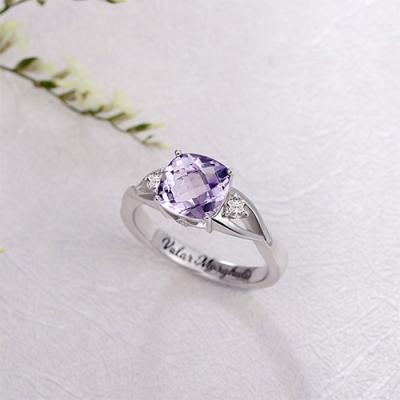 Beautiful Custom Cushion-Cut Sterling Silver Birthstone Ring