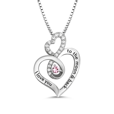 Custom Sterling Silver Delicate Infinity Heart Birthstone Necklace