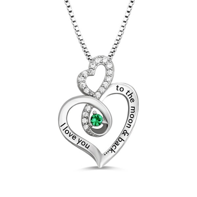 Sterling Silver Custom Exquisite Infinity Heart Birthstone Necklace