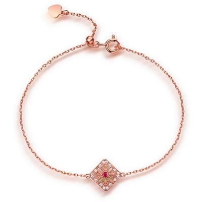 Sterling Silver Radiant Natural Ruby Gemstone Bracelet 7.5