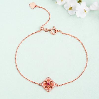 "Sterling Silver Radiant Natural Ruby Gemstone Bracelet 7.5"" Chain"