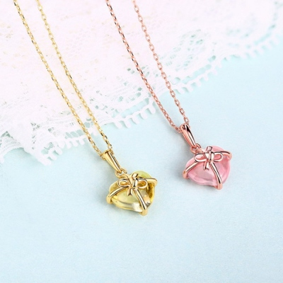 Gift For Her: Sophisticated Natural Citrine/Pink Gemstone Necklace