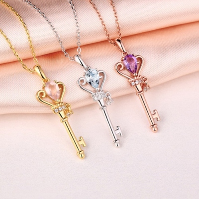 """Sterling Silver Dignified Natural Gemstone Key To My Heart Necklace 18"""""""