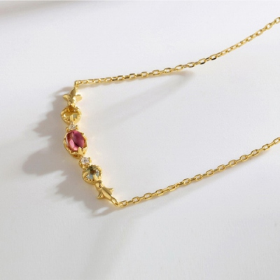 """Attractive Red Tourmaline Necklace For Women 18"""" Chain"""