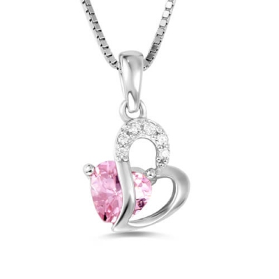Sterling Silver Glaring Custom Open Heart Birthstone Necklace