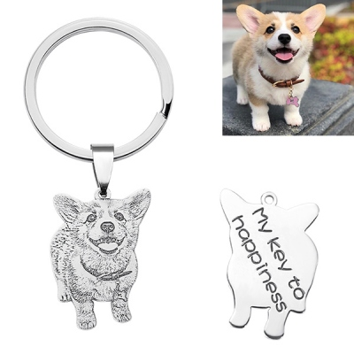 Adorable Engraved Pet Photo Keychain