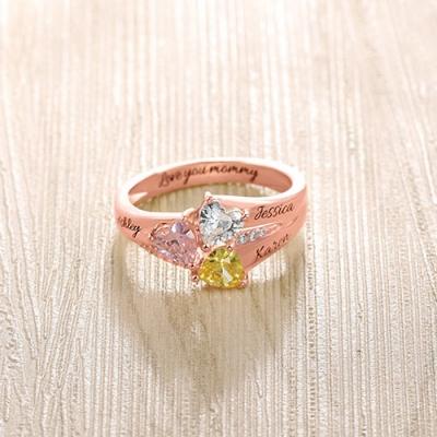 Rose Gold Taintless Custom Heart Birthstone Engraved 3 Names Ring