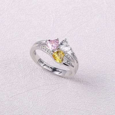 Sterling Silver Stunning Custom Heart Birthstone Engraved Names Ring