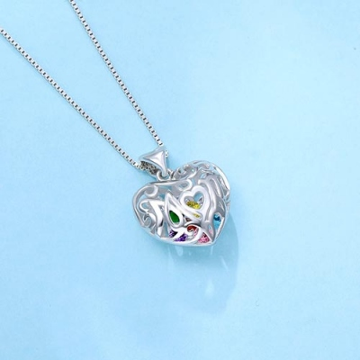 Sterling Silver Gentler Custom Mom's Heart Cage Birthstone Necklace