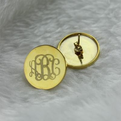 Solid Gold Fancy 3 Initial Circle Monogram Name Earrings