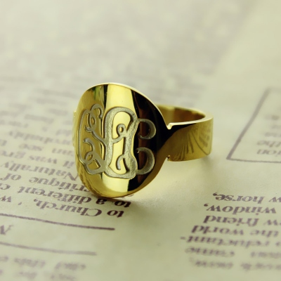 Solid Gold Stylish Engraved Initial Monogram Ring