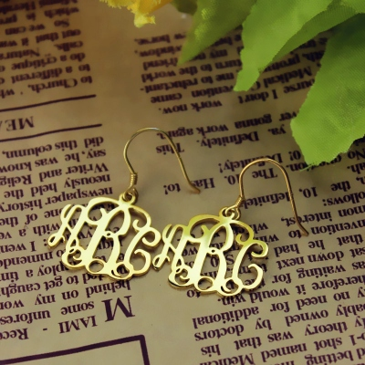Solid Gold Diaphanous Personalized Monogram Earrings