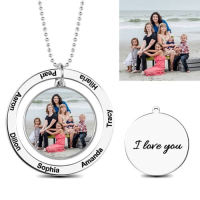 Sterling Silver Charming Personalized Photo Engraved Circle Necklace