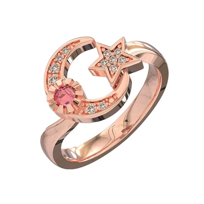 Rose Gold Ingenious Custom Engraved Moon And Star Birthstone Ring