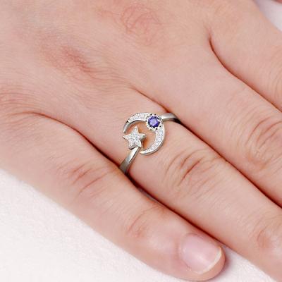 Sterling Silver Glaring Custom Engraved Birthstone Moon And Star Ring