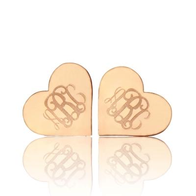 Lovely Solid Rose Gold Heart Custom Monogram Earrings Studs