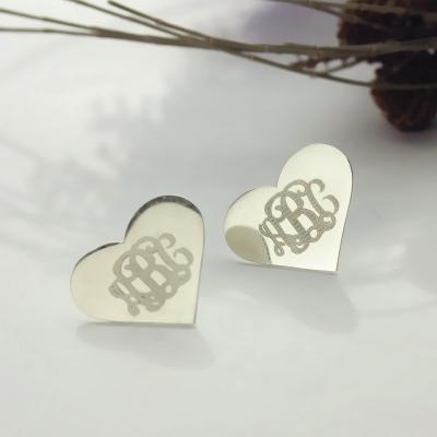 Charming Solid White Gold Heart Custom Monogram Earrings Studs