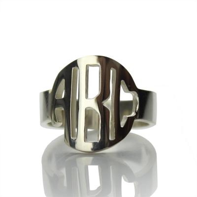Appealing Circle Block Monogram 3 Initials Ring Solid White Gold Ring