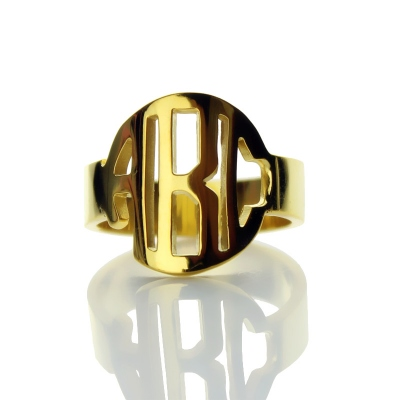 Adorable Solid Gold Personalized Circle Block Monogram 3 Initials Ring