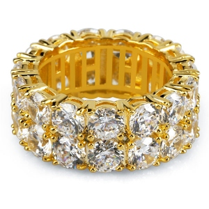 CZ Two-Row Hip Hop Ring