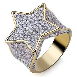 Iced Out Star Ring in Gold